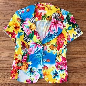 Escada 36 floral fish Hawaiian short sleeve resort